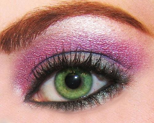 sombra verde y rosa