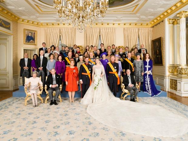 Wedding of Prince Guillaume and Princess Stephanie, Kronprins Frederik, Kronprins Haakon, Kronprins Naruhito, Kronprinsesse Mary, Kronprinsesse Mette-Marit, Kronprinsesse Victoria, Prins Edward, Kong Albert, Kong Konstantin, Kong Konstantin, Kong Harald, P