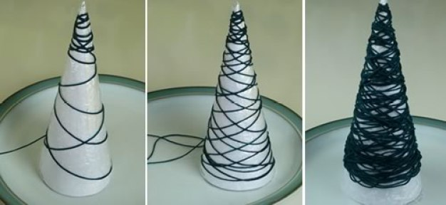 miniature-christmas-tree-ornaments-wrapping-yarn-on-cone-500x230px